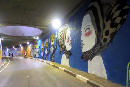 Noite Ilustrada – a whole tunnel graffiti mural